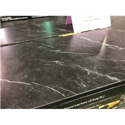 DESIGNER ST05 COMMERCIAL BEVELED .5MM  BLACK MARBLE VINYL TILE FLOORING