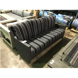 3 PCS CABANA COAST BLACK PLASTIC RATAN OUTDOOR PATIO CHAT SET INCLUDING: SOFA & 2 SWIVEL ROCKING