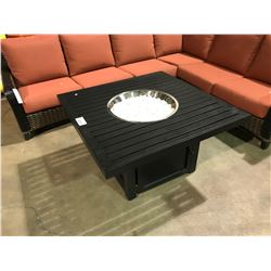 """BLACK 42"""" X 42"""" ALUMINUM PROPANE OUTDOOR FIRE PIT COCKTAIL TABLE"""