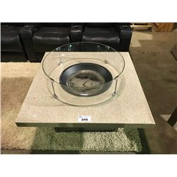 """BEIGE FAUX STONE 42"""" X 42"""" ALUMINUM PROPANE OUTDOOR FIRE PIT COCKTAIL TABLE"""
