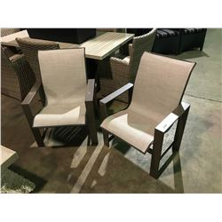 PAIR OF BEIGE MESH BACK ALUMINUM OUTDOOR PATIO ARM CHAIRS