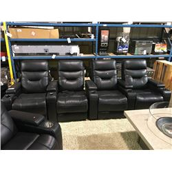 EMPIRE BLACK LEATHER 4 PCS POWERED RECLINING THEATER SECTIONAL WITH LED LIGHT