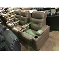 EMPIRE GREY LEATHER 3 PCS POWERED RECLINING THEATER SECTIONAL WITH LED LIGHT