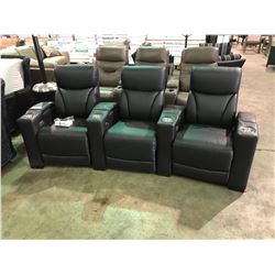 BLACK 9770 LEATHER 3 PCS POWERED RECLINING THEATER SECTIONAL