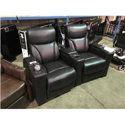 BLACK 6761 LEATHER 2 PCS POWERED RECLINING THEATER SECTIONAL WITH LED