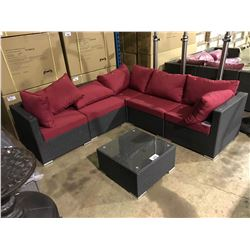 6 PCS HAND CRAFTED CHARCOAL PLASTIC RATTAN SECTIONAL SET WITH COCKTAIL TABLE