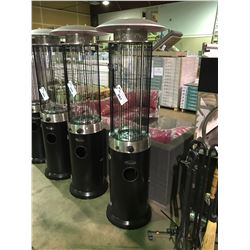 PARAMOUNT BLACK / GLASS PROPANE OUTDOOR FLAME TUNNEL PATIO HEATER