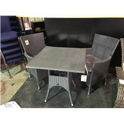 3 PIECE GREY KEVIN BISTRO SET INCLUDING 2 CHAIRS & TABLE