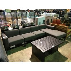 4 PIECE CAST ALUMINUM GREY SECTIONAL OUTDOOR PATIO SOFA WITH LOUNGER