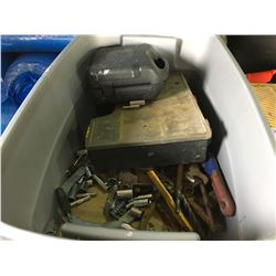 GREY SUPERIOR JOB SITE TOOL BOX WITH PLASTIC SAW HORSES, 3 TOOL BOXES WITH CONTENTS & BIN OF