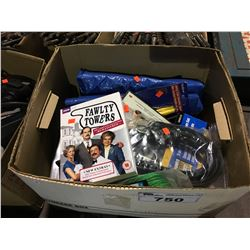 BOX OF ASSORTED DVDS, TARP & MISCELLANEOUS