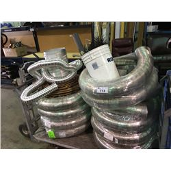 CART OF ASSORTED FIRE PLACE DUCTING & COPPER TUBING ( CART NOT INCLUDED )