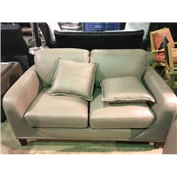 MATTIAS LATTE LEATHER 3 SEAT SOFA & LOVE SEAT SET WITH THROW PILLOWS