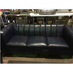 SEVERINO BLUE LEATHER 3 SEAT SOFA & 2 ARM CHAIRS