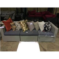 GREY PLASTIC RATTAN 3 PIECE SECTIONAL SOFA WITH COCKTAIL TABLE