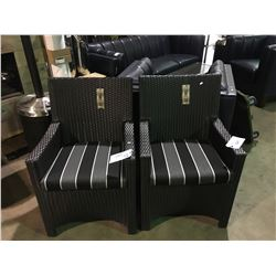 PAIR OF SOL WEAVE DARK PLASTIC RATTAN OUTDOOR PATIO ARM CHAIRS