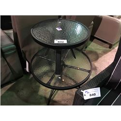 BLACK CAST ALUMINUM & GLASS OUTDOOR PATIO TABLE AND END TABLE