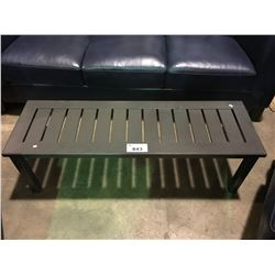 GREY CAST ALUMINUM OUTDOOR PATIO BENCH