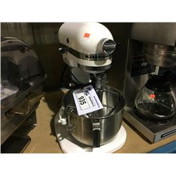 WHITE KITCHEN AID COMMERCIAL MIXER WITH ATTACHMENTS