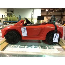 "RED "" FERRARI "" CAR REMOTE CONTROLLED CHILDRENS RIDE ON TOY WITH LIGHTS, USB DIGITAL AUDIO PLAYER &"