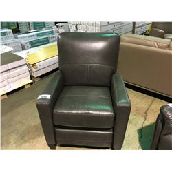 AMAX MODEL GREY LEATHER MANUAL RECLINING ARM CHAIR
