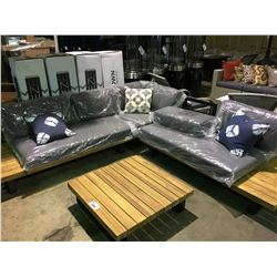 HAVEN PF-CS353-GY 3 PIECE TEAK & METAL  OUTDOOR PATIO SECTIONAL WITH COCKTAIL TABLE