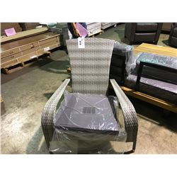 PAIR OF GREY PLASTIC RATTAN OUTDOOR MUSKOKA CHAIRS