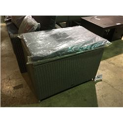 PATIOFLARE GREY PLASTIC RATTAN OUTDOOR PATIO STORAGE BENCH