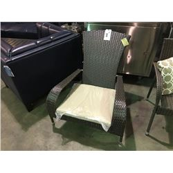 PAIR OF MUSKOKA 2-TONE BROWN PLASTIC RATTAN OUTDOOR PATIO ARM CHAIRS