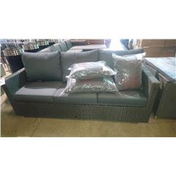 PATIOFLAIR CHARCOAL GREY 3 SEAT OUTDOOR PATIO SOFA WITH THROW CUSHIONS