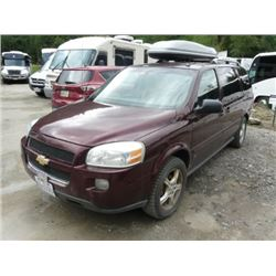 2006 CHEVROLET UPLANDER BODY STYLE TAXI W/AUTOMATIC, GAS ENGINE, LEATHER SEATS, TWO SLIDING DOORS,