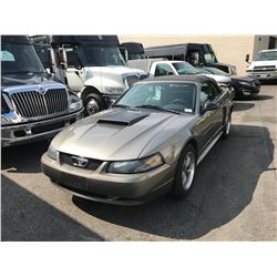 2002 FORD MUSTANG GT, GREY 2DRCON, GAS, AUTOMATIC, VIN#1FAFP45X52F218069, 160,995KMS,