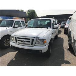 2007 FORD RANGER, 2DR PU EX CAB, WHITE, VIN # 1FTYR44U67PA25936