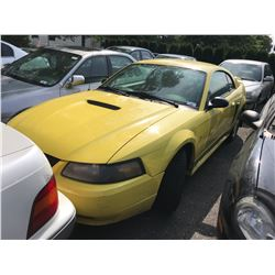 2001 FORD MUSTANG, YELLOW, 2DRCP, GAS, AUTOMATIC, VIN#1FAFP40451F172965, TMU *NO KEYS, MUST TOW,