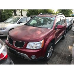 2006 PONTIAC TORRENT, RED, 4DRSW, GAS, AUTOMATIC, VIN#2CKDL63F566176336,191,577KMS  * MUST TOW,
