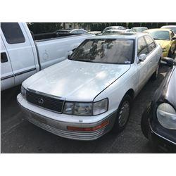 1991 LEXUS LS400, GAS, AUTOMATIC, WHITE, 4DRSD, VIN#JT8UF11E5M0059615*TMU, NO KEYS, NO