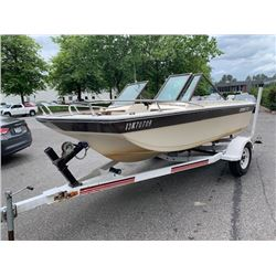 GREW 170 15' BOW RIDER BOAT, RATED FOR 75HP, SLEEPER SEATS, TRI HAUL, ON 2002 ESCORT WHITE ESCORT