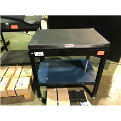 """STARRETT 24"""" X 36"""" X 5"""" GRAPLATE WORK SURFACE PLATE NO LEDGE GRADE A ON METAL WORK TABLE WITH COVER"""