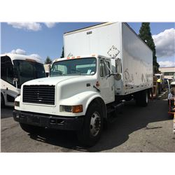 2000 INTERNATIONAL 4700, 5 TON BOX TRUCK WITH MOXON POWER TAILGATE, WHITE, 6 SPEED MANUAL, DIESEL,