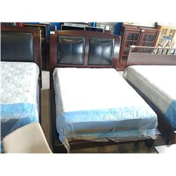 QUEEN SIZE DARK WOOD & LEATHER HEADBOARD, FOOTBOARD AND RAILS