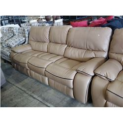 3 PIECE BEIGE LEATHER RECLINING SOFA SET INCLUDING LOVESEAT WITH CONSOLE & CHAIR