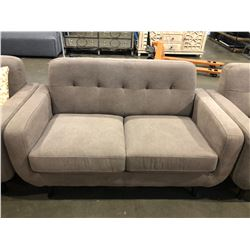 3 PIECE BROWN FABRIC SOFA SET INCLUDING LOVESEAT & CHAIR