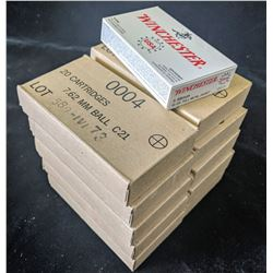 10 CARTONS OF 7.62 MM BALL C21 AMMUNITION (200 CARTRIDGES) AND 20 CARTRIDGES OF WINCHESTER 5.56 MM