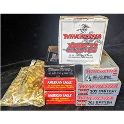 LOT OF ASSORTED AMMUNITION INCLUDING .45 AUTO (BAGS), .44 REM. MAGNUM, .22 LONG RIFLE, 303 BRITISH
