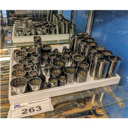 TRAY OF ASSORTED SNAP-ON 6-POINT AND 12-POINT SHALLOW & DEEP IMPACT SOCKETS (APPROX 60PCS)