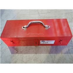 "RED SNAP-ON METAL TOOLBOX (APPROX. 18.5 X 4 X 7"")"