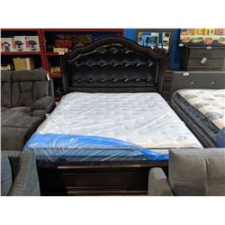 KING SIZE LEATHER & DARK WOOD HEADBOARD, FOOTBOARD AND RAILS