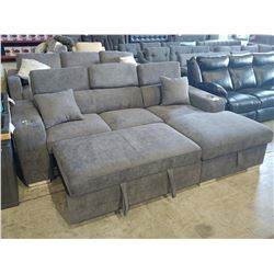 2 PIECE DARK GREY SECTIONAL WITH PULL-OUT BED/OTTOMAN AND CUP HOLDERS