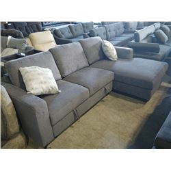 2 PIECE GREY SECTIONAL WITH PULL-OUT BED/OTTOMAN AND PAIR OF ACCENT PILLOWS