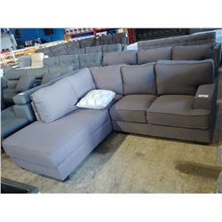 2 PIECE GREY SECTIONAL WITH ACCENT PILLOW
